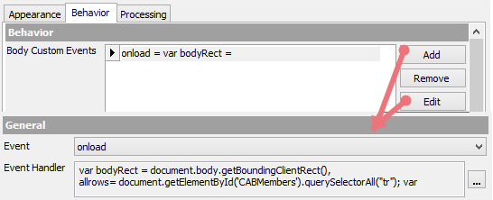 Body Custom Events Configuration