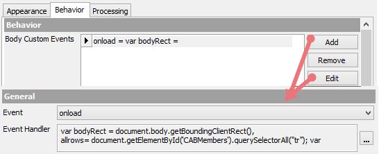 Body Custom Events Configuration
