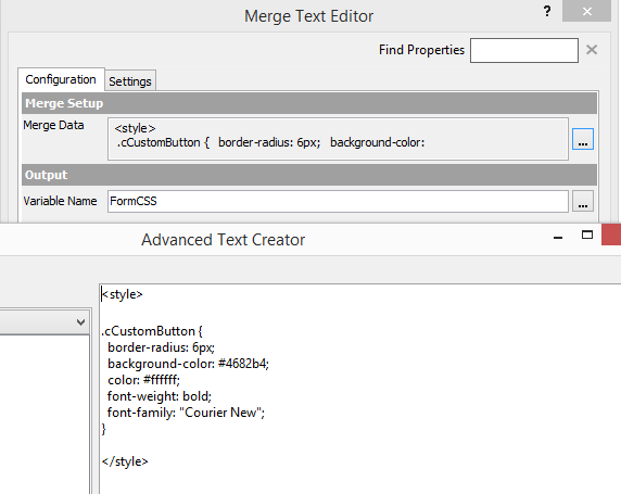 Symantec Workflow Merge Text and CSS