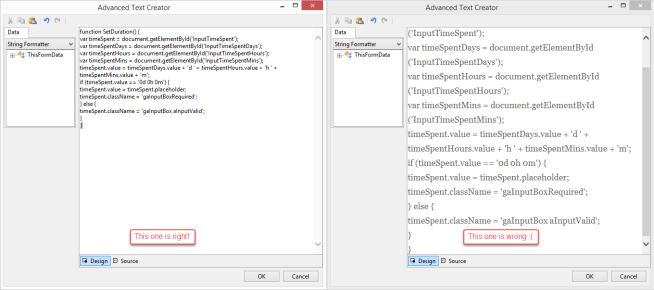 Symantec Workflow Javascript Field